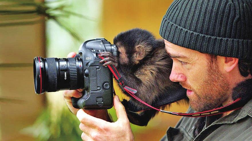 动物也会模仿起人类的动作
