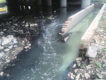 大辛河花园东路桥下污水直排