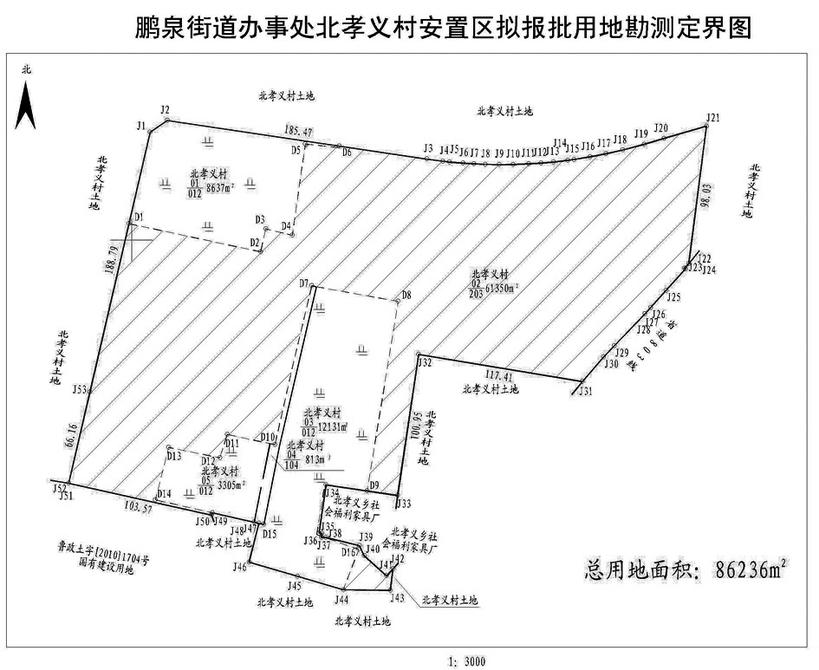 关于鹏泉街道办事处北孝义村安置区拟报批用地权籍调查权属界线公告