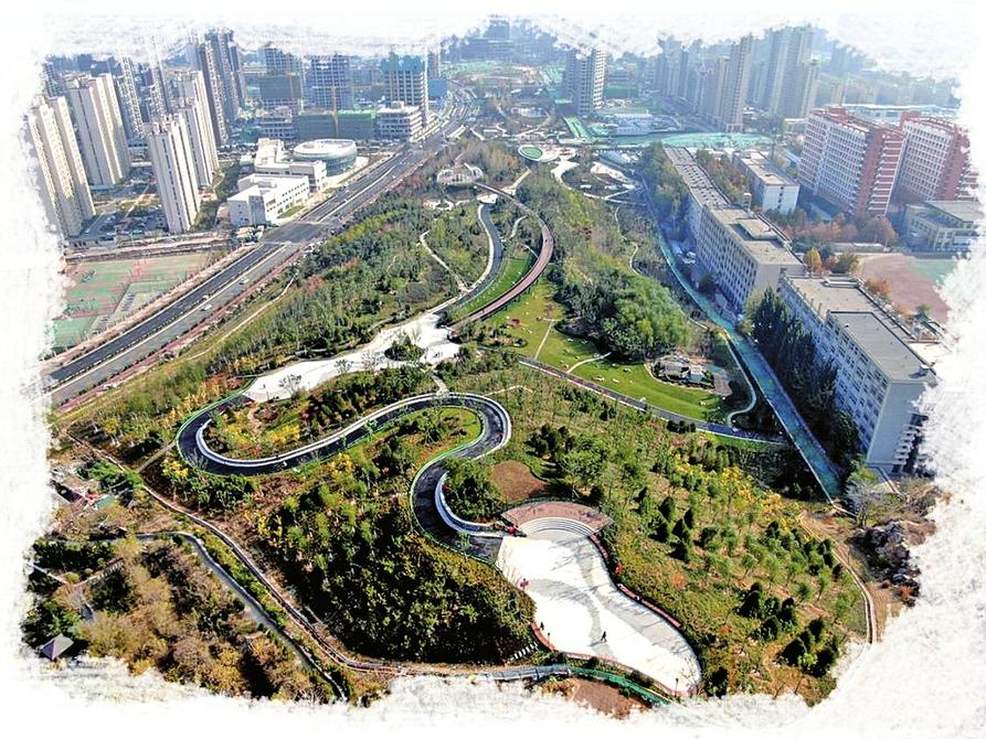 泉城再添新美景 济南中央商务区东西绿廊项目基本建成