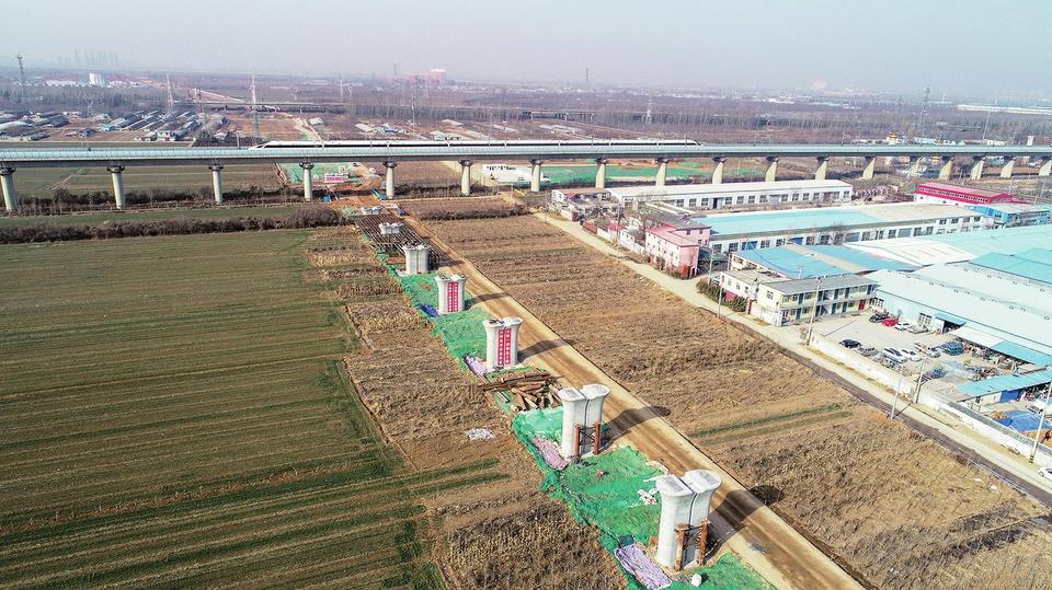 郑济高铁建起桥墩将横穿京沪高铁