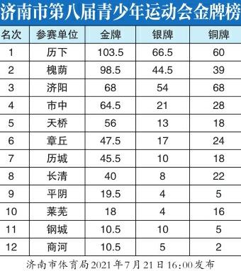 济南市第八届青少年运动会金牌榜